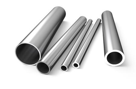 métal laminé, le tube isolé sur fond blanc