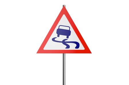 slippery: slippery road sign isolated on white background