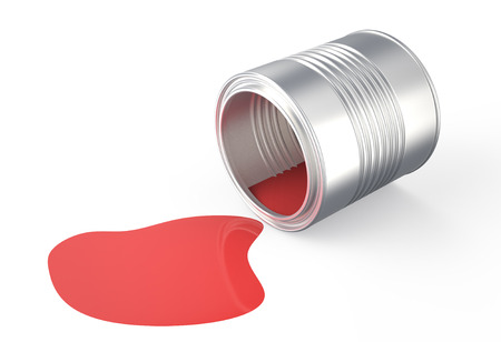 spilled: spilled  red  paint isolated on  white background Stock Photo