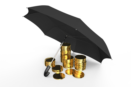 financial stability: Stability and protection in financial, business  and insurance concept: stacked golden coins covered by black umbrella isolated on white background Stock Photo