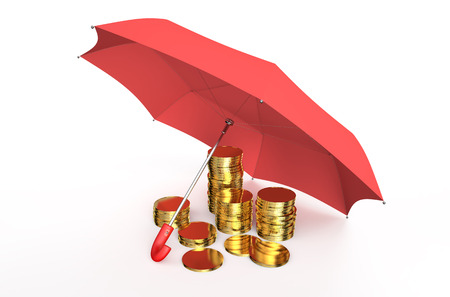 financial stability: Stability and protection in financial, business  and insurance concept: stacked golden coins covered by red umbrella isolated on white background