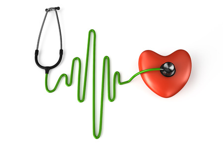 Stethoscope, heart and ECG isolated on white background photo