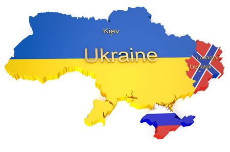 separatism: War in Ukraine concept isolated on white background