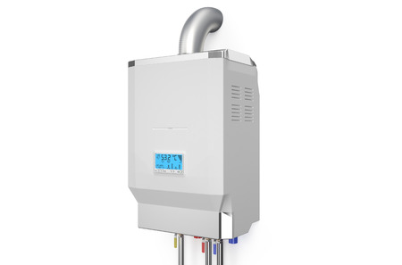 White home-gas gestookte ketel, boiler op een witte achtergrond Stockfoto - 36598587