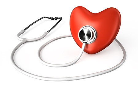 white stethoscope and red heart  isolated on white background photo