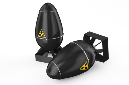 atomic black air bombs isolated on white background Stock Photo