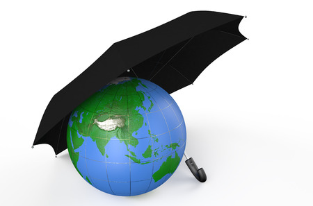 earth covered by black umbrella  isolated on white background photo
