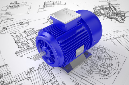 Industriali motori elettrici blu sul disegno Archivio Fotografico