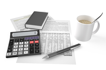 cofe: Office calculator, notepad, cofe, documents and pen on financial reports isolated on white background