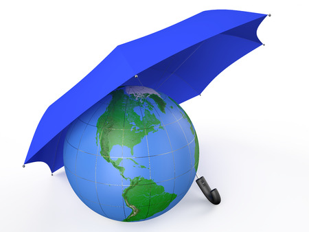 earth covered by blue umbrella  isolated on white background photo
