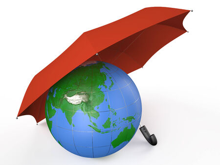 earth covered by red umbrella  isolated on white background photo