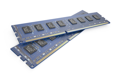modules: DDR3 memory modules  isolated on white background Stock Photo