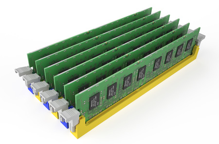 latency: DDR3 memory modules  isolated on white background Stock Photo