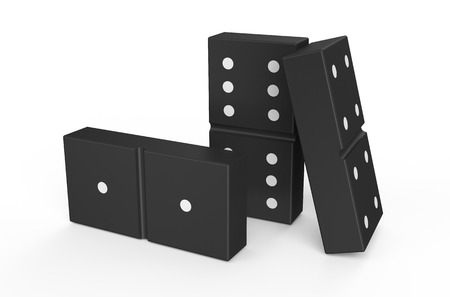 chain reaction: domino isolated on white background