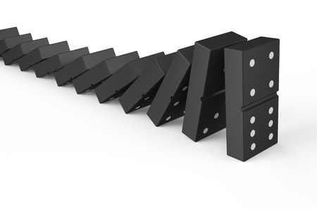 domino effect isolated on white background