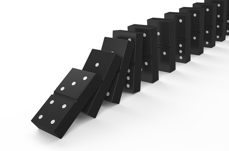domino effect: domino effect isolated on white background