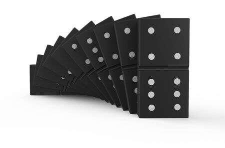 dominoes: domino effect isolated on white background