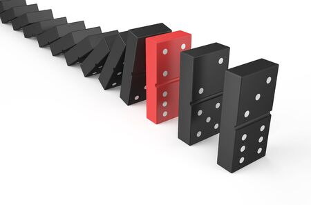 domino effect: domino, teamwork concept isolated on white background