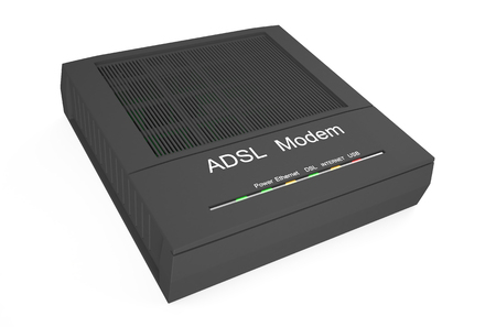 dsl: DSL modem isolated on white background