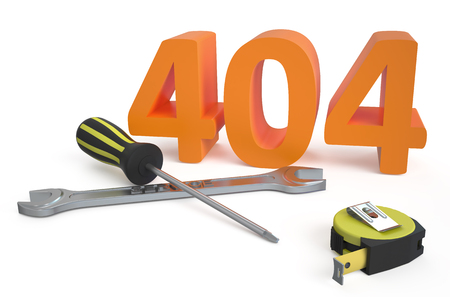 404 repairs concept isolated on white background photo