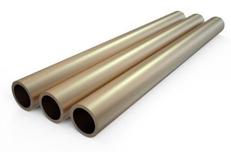 balk: rolled metal, bronze tube isolated on white background