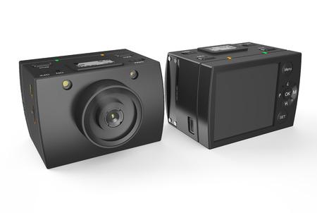 Acton camera isolated on white background photo