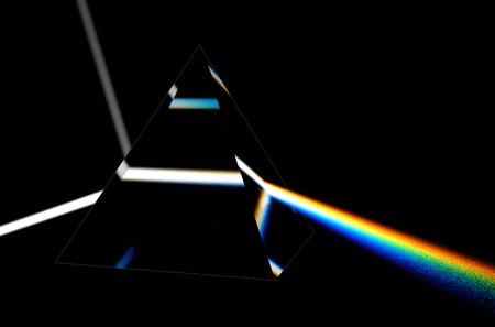 light separated to spectrum through prism photo