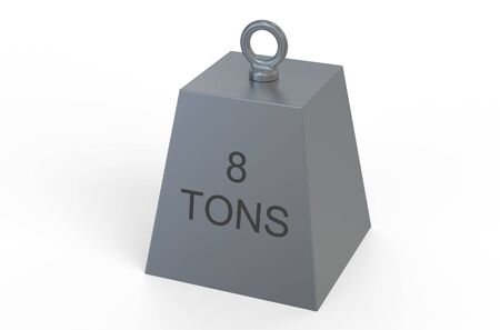 tons: weight,  8 tons isolated on white background Stock Photo