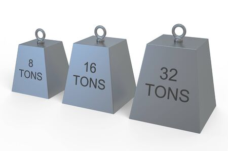 tons: weight  8 , 16,32 tons isolated on white background