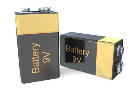 electrolyte: 9V batteries  isolated on white background