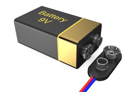transistor: Batería transistor ladrillo 9 voltios (Krona) con conector aislado en el fondo blanco Foto de archivo