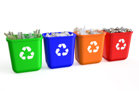 recycling containers with  trash isolated on  white background photo