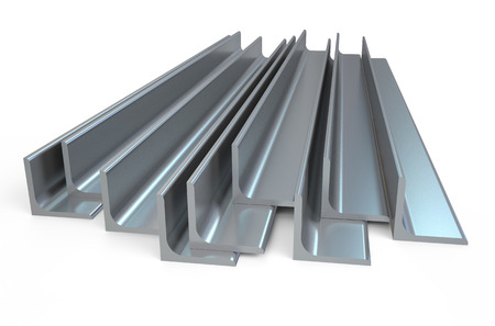 光沢のある圧延金属 L バー、白い背景で隔離の角度 写真素材