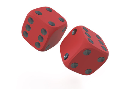 red dice: two red dice  isolated on white background