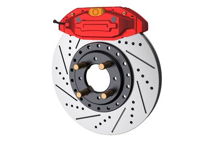 brake caliper: Car disc brake and caliper isolated on white background Stock Photo