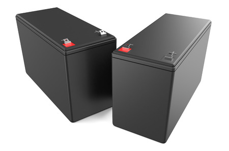 Sealed UPS batteries isolated on white background photo