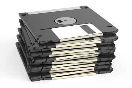 disks: set of  floppy disks isolated on white background Stock Photo