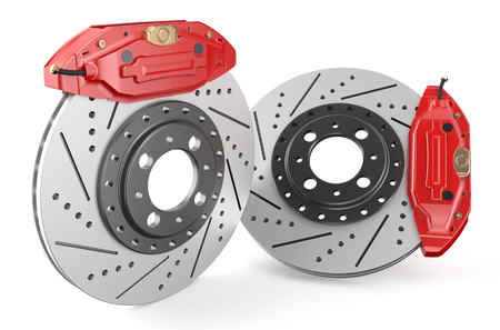 Car discs brake and caliper isolated on white background photo