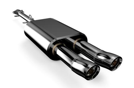 silencer: Car muffler, exhaust silencer isolated on white background