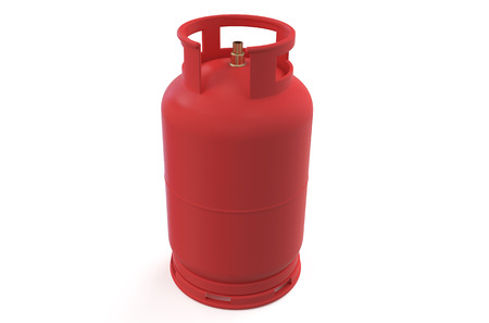 A red gas cylinder isolated on white background photo