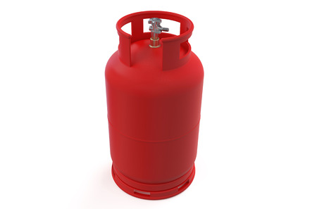 gas cylinder: A red gas cylinder isolated on white background Stock Photo