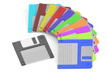disks: colored floppy disks isolated on white background