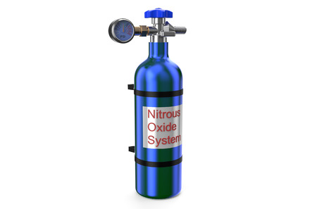 Nitrous Oxide System gas cylinder isolated on white background