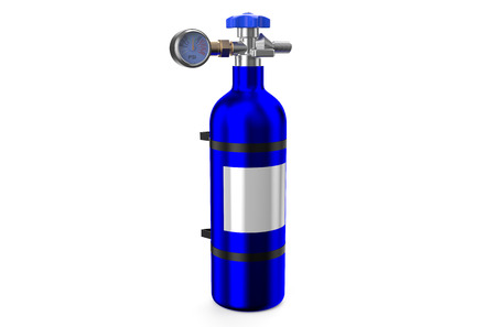 atmospheric pressure: Nitrous Oxide System gas cylinder isolated on white background Stock Photo