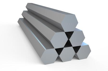 Shiny hexagon metal bars isolated on white background Stock Photo
