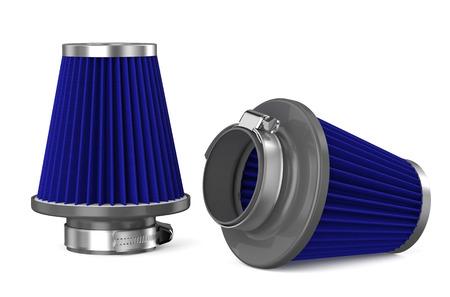 air cleaner: filtro de aire azul para el coche aislado en el fondo blanco