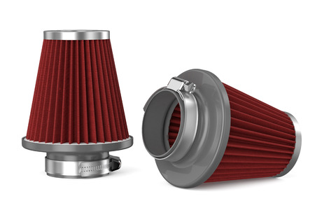 intake: red air filter for car isolated on white background