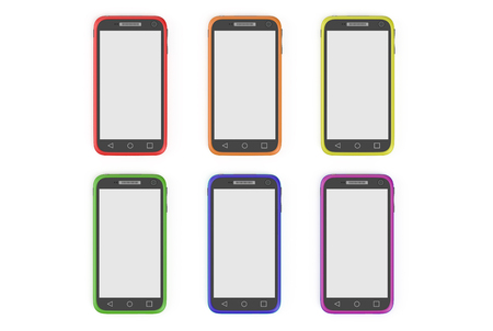 multicolored smartphones isolated on white background photo