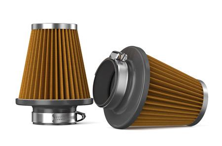 air cleaner: filtro de aire de naranja para el coche aislado en el fondo blanco