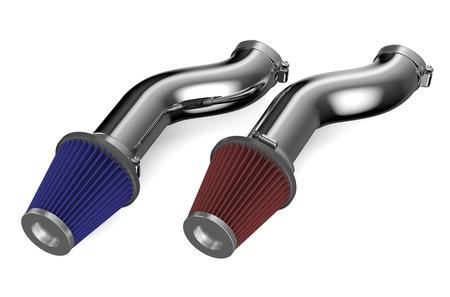 air cleaner: filtro de aire en las tuber�as para el coche aisladas sobre fondo blanco